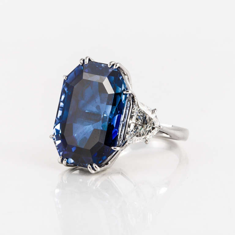Natural 41.80 Carat Blue Sapphire, Diamond, and Platinum Ring 3
