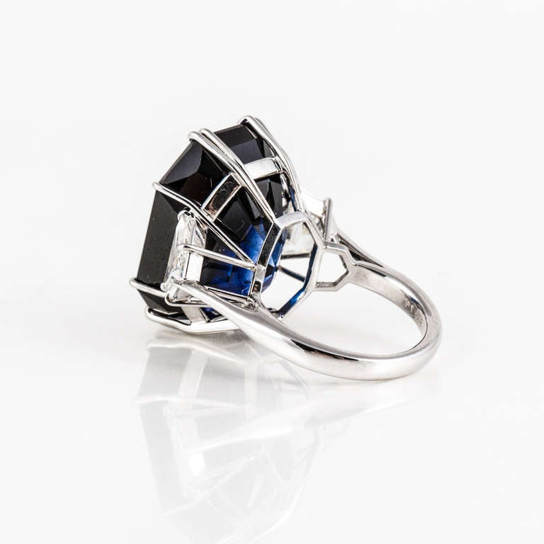 Natural 41.80 Carat Blue Sapphire, Diamond, and Platinum Ring 5