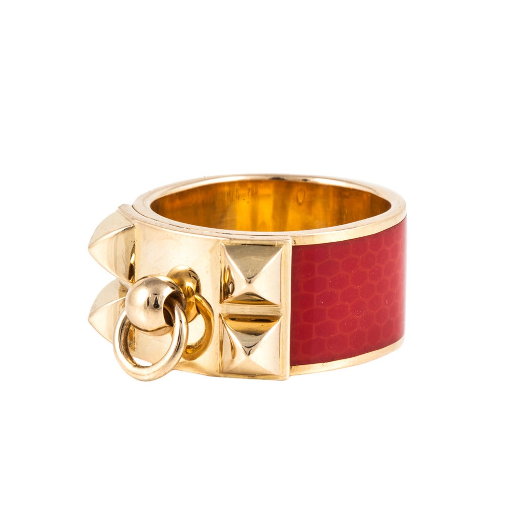 Hermes Red Enamel Gold Collier De Chien Band Ring