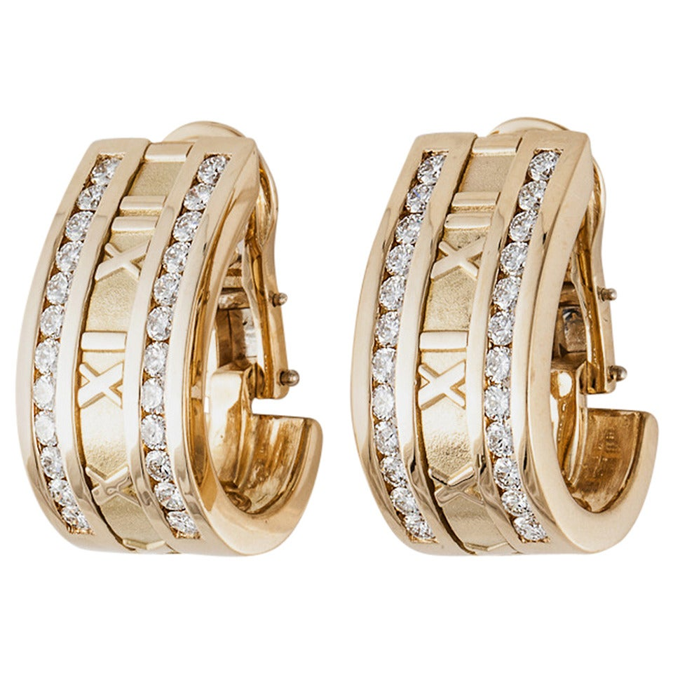 Tiffany Diamond Gold Atlas Half Hoop Earrings