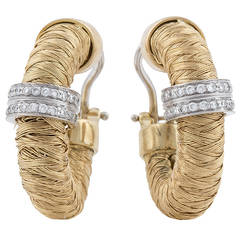 Roberto Coin Diamond Woven Gold Hoop Earrings
