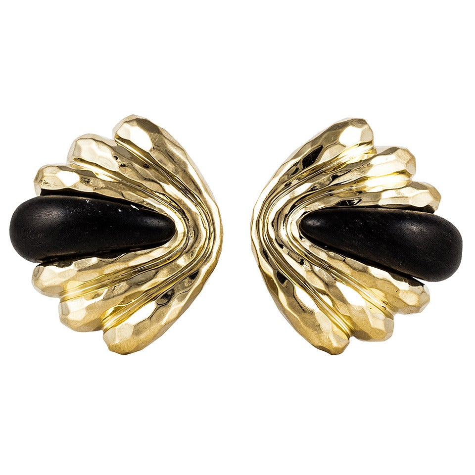 Henry Dunay Ebony Gold Ear Clips For Sale