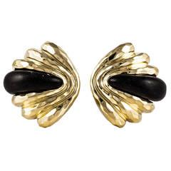 Henry Dunay Ebony Gold Ear Clips