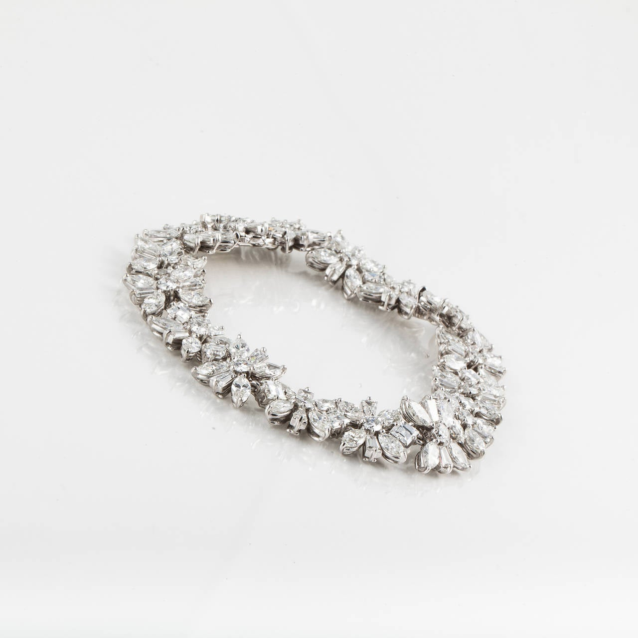 1950s Cartier Diamond Platinum Bracelet In Excellent Condition For Sale In Houston, TX