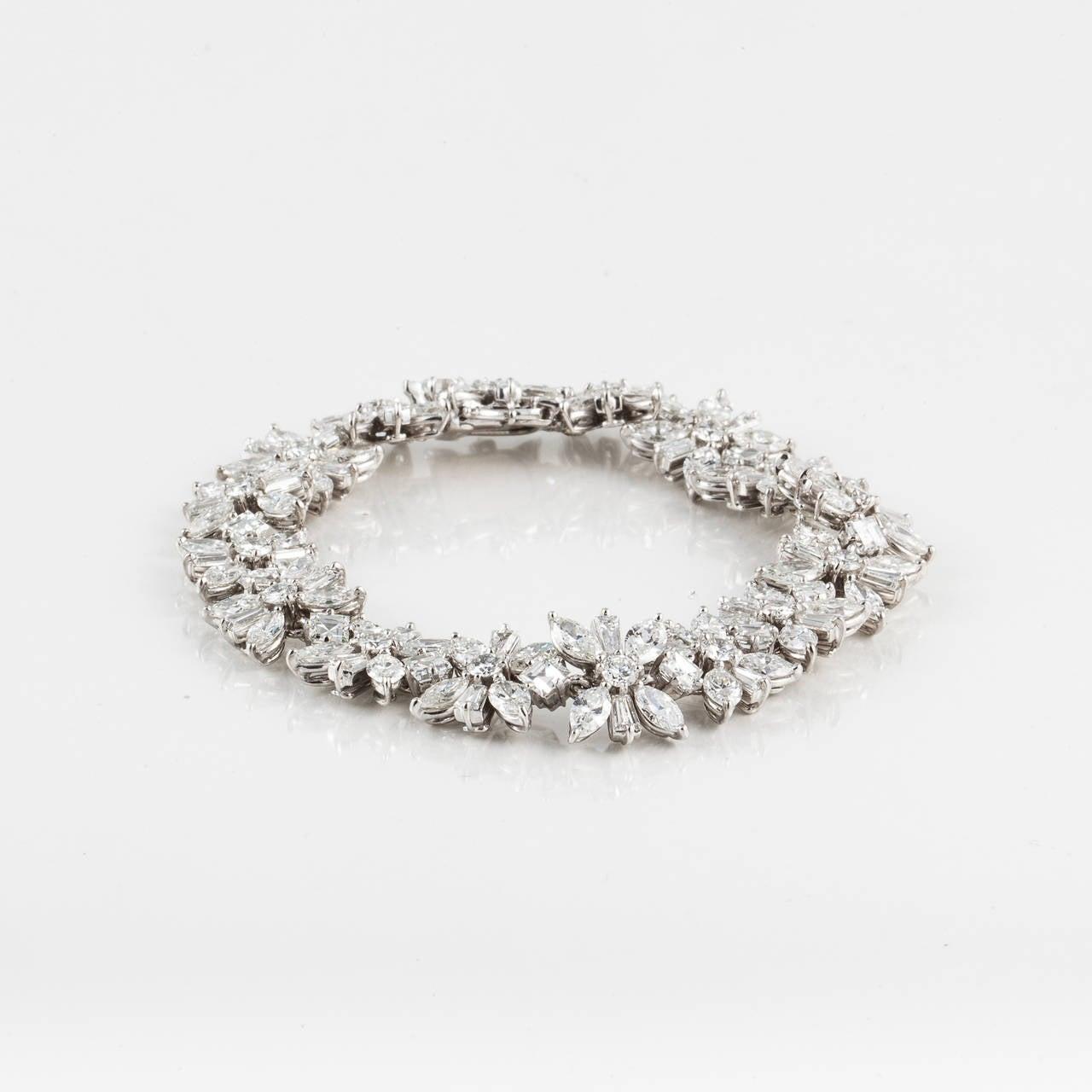 Women's 1950s Cartier Diamond Platinum Bracelet For Sale