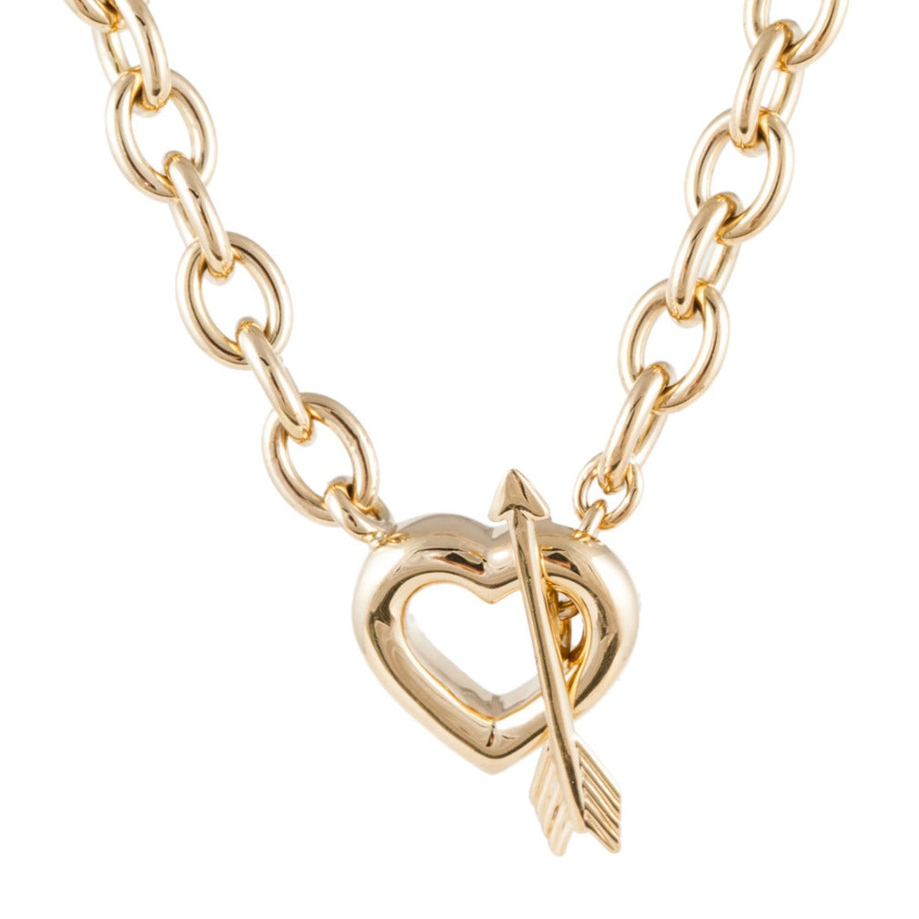 Tiffany & Co. Gold Heart with Toggle Necklace For Sale