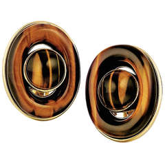 Tiger's Eye and Yellow Gold Earrings
