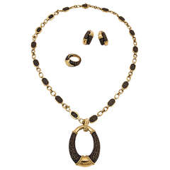 Boucheron Bronze and Yellow Gold Suite of Necklace, Earrings, and Ring