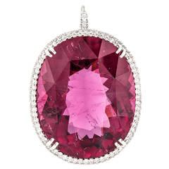 53 Carat Rubelite Diamond Gold Pendant