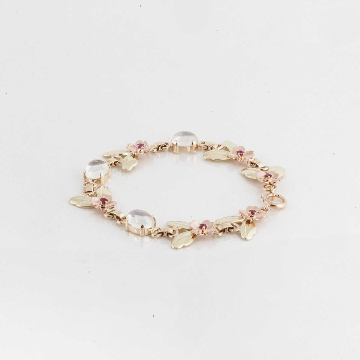 Women's Tiffany & Co. Retro Moonstone Gold Link Bracelet For Sale