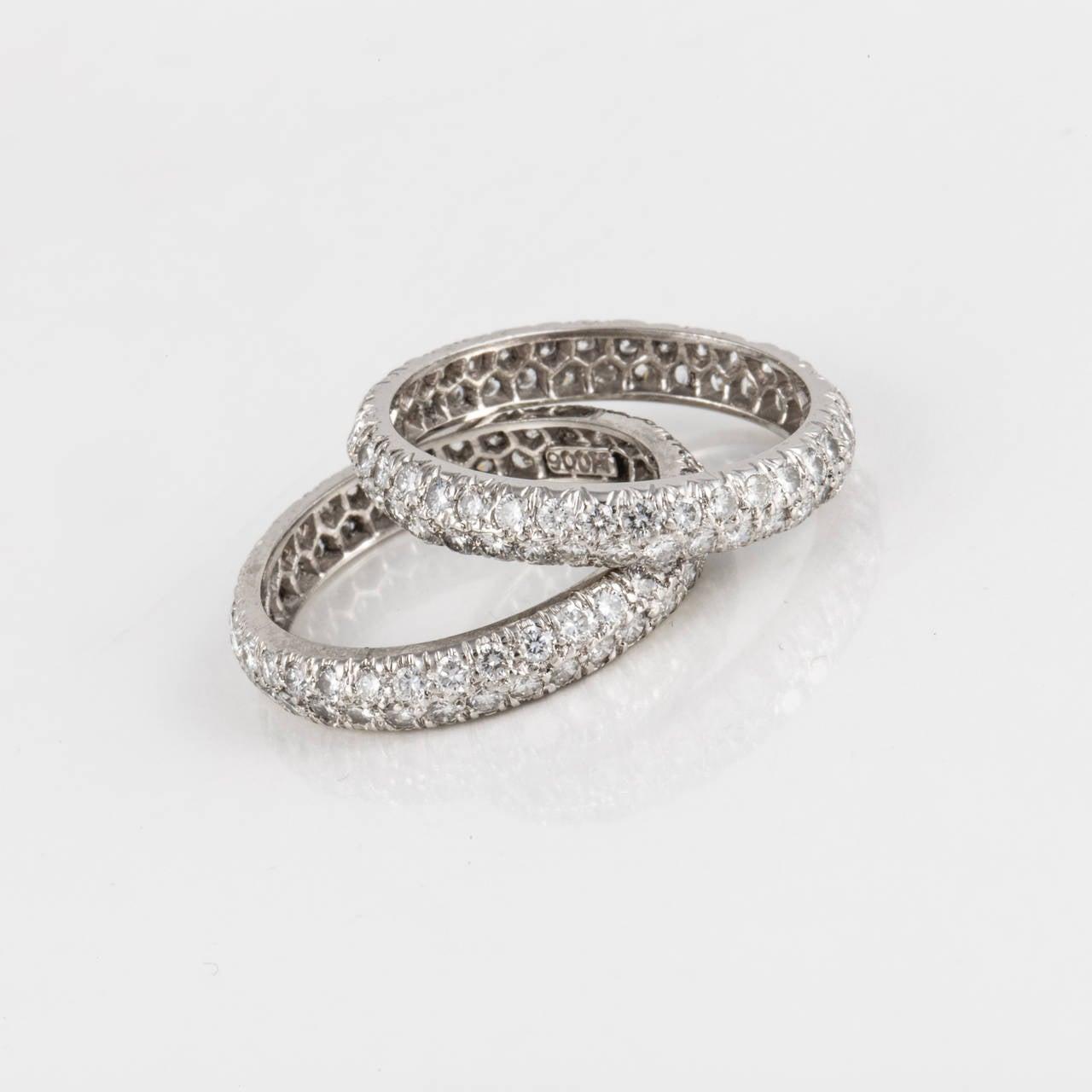 david webb pair of platinum eternity band rings