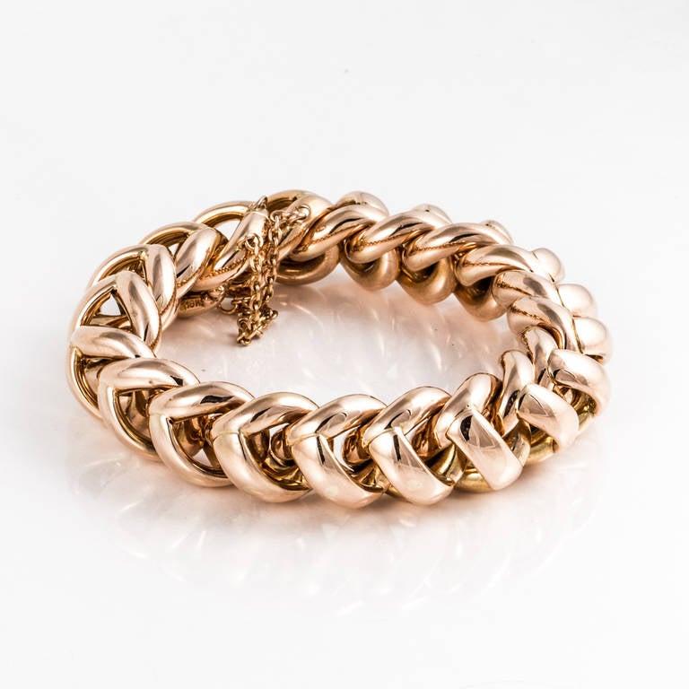 Women's Retro 18K Rose Gold Link Bracelet For Sale