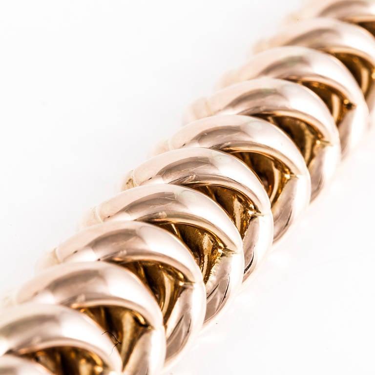 Retro 18K Rose Gold Link Bracelet For Sale 1