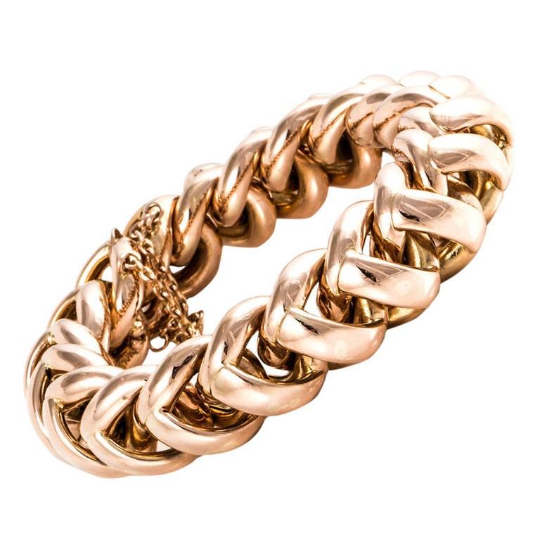 Retro 18K Rose Gold Link Bracelet For Sale