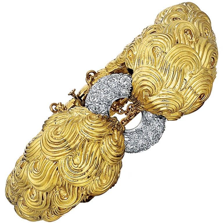 David Webb Diamond Platinum Gold Bracelet
