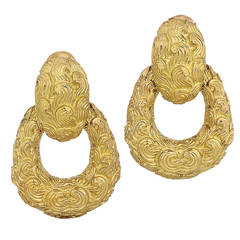 David Webb Gold Doorknocker Earrings
