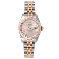 Rolex Lady's Stainless Steel Rose Gold Oyster Perpetual Datejust Wristwatch