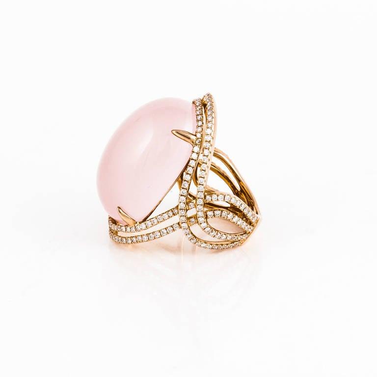 Rose Quartz Diamond Rose Gold Ring 4