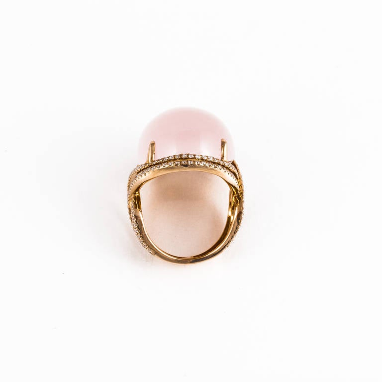 Rose Quartz Diamond Rose Gold Ring For Sale 1