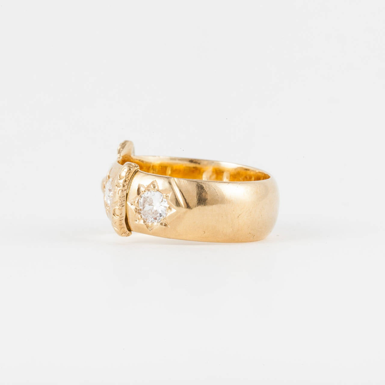 Old Mine Cut English 18K Yellow Gold Diamond Buckle Ring For Sale