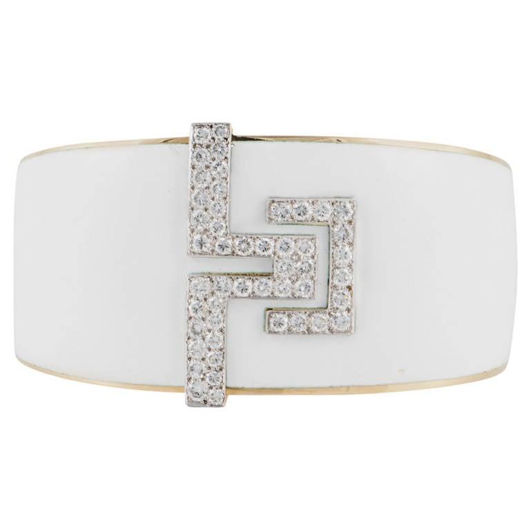 David Webb White Enamel Diamond Gold Platinum Bracelet