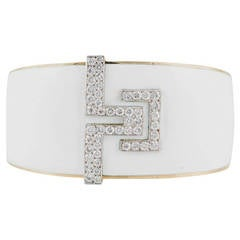 David Webb White Enamel Diamond Gold Platinum Bracelet