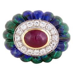 David Webb Azurite Ruby Diamond Gold Cocktail Ring