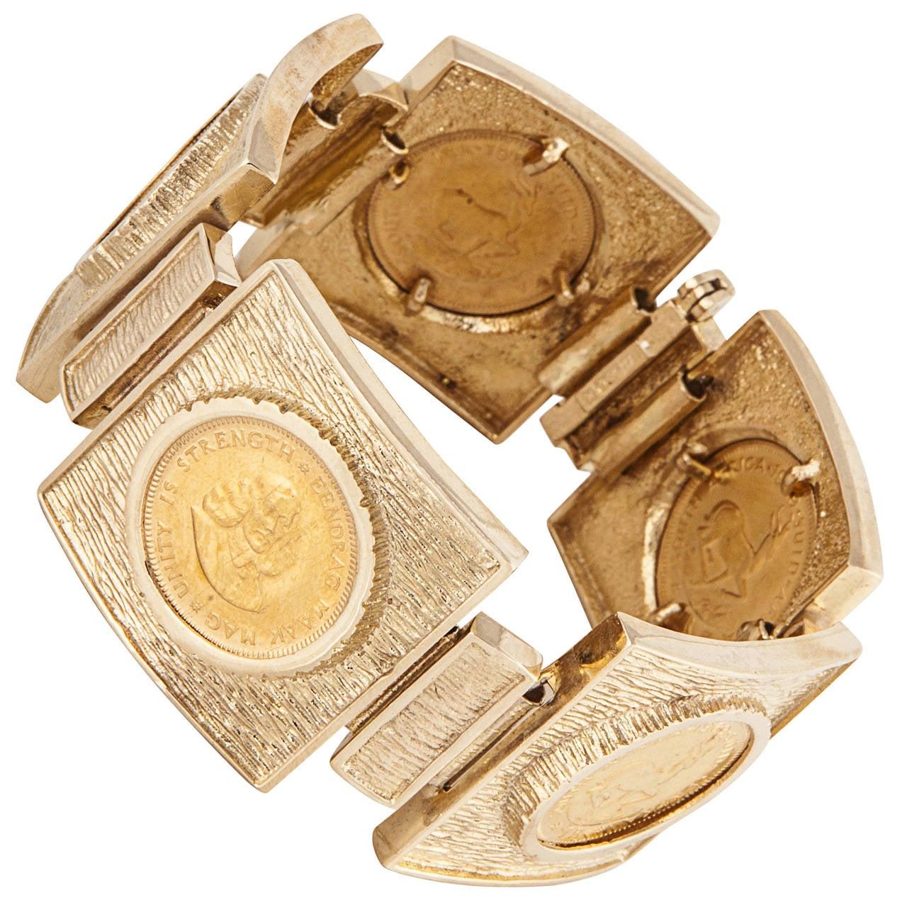 Gold Coin Bracelet With Krugerrands For