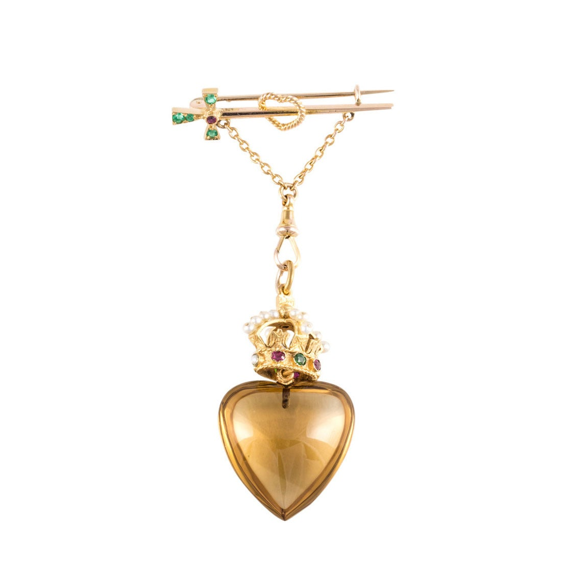 Victorian Gem Set Gold Claddagh Pin