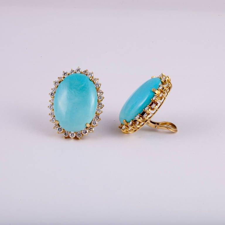 Turquoise Diamond Gold Earrings 2