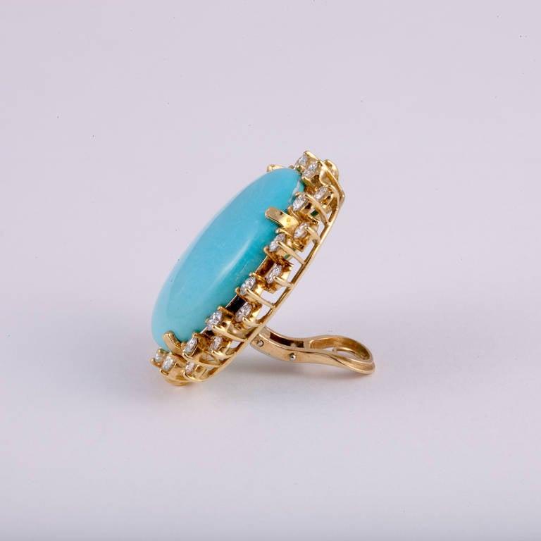 Turquoise Diamond Gold Earrings 3