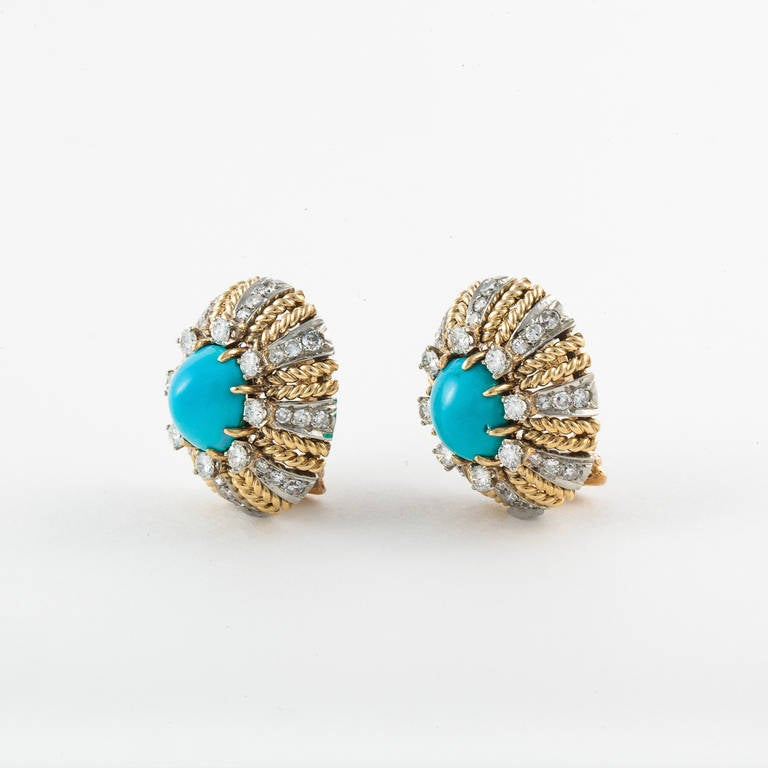 Turquoise Diamond Gold Earrings In Excellent Condition For Sale In Houston, TX