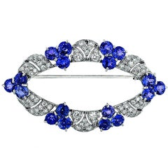 Sapphire and Diamond Platinum Brooch