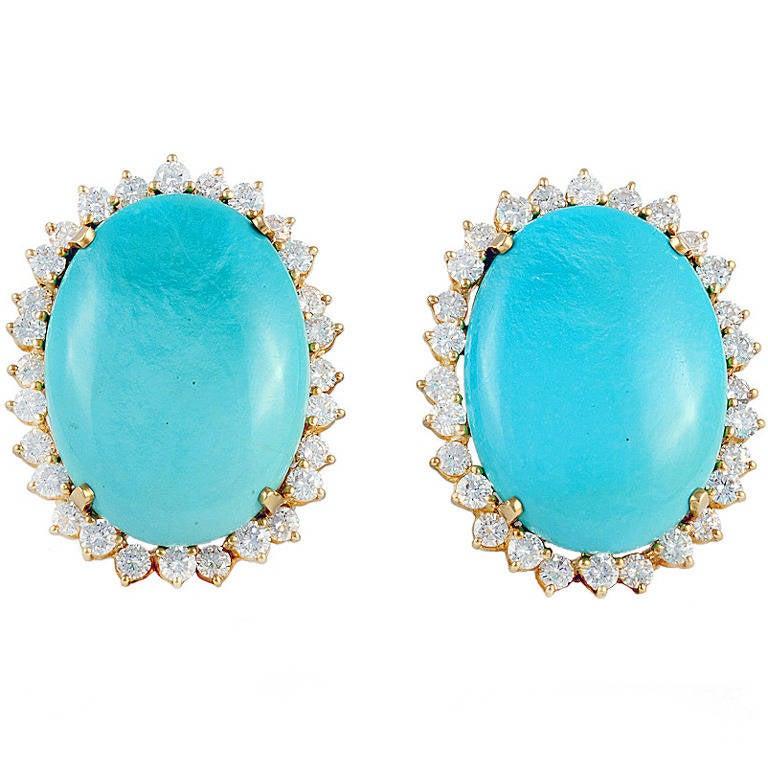 Turquoise Diamond Gold Earrings 1