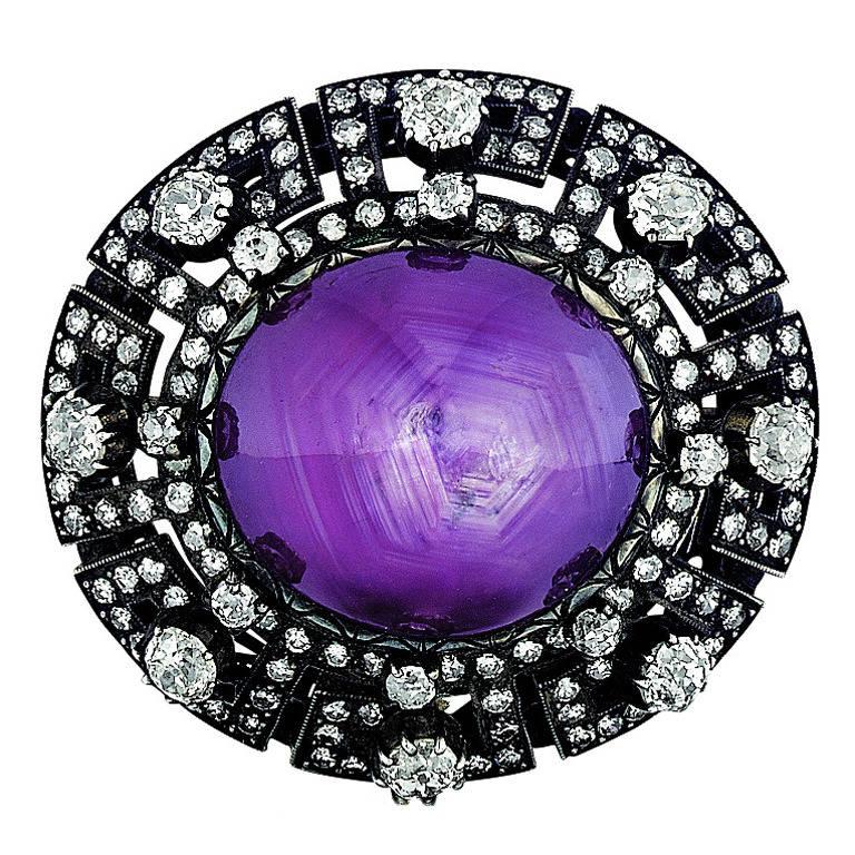 Antique Star Purple Sapphire Diamond Brooch