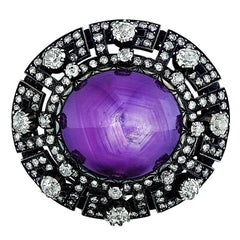 Antique Star Purple Sapphire Diamond Brooch
