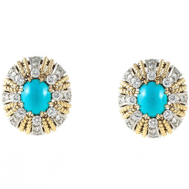 Turquoise Diamond Gold Earrings For Sale