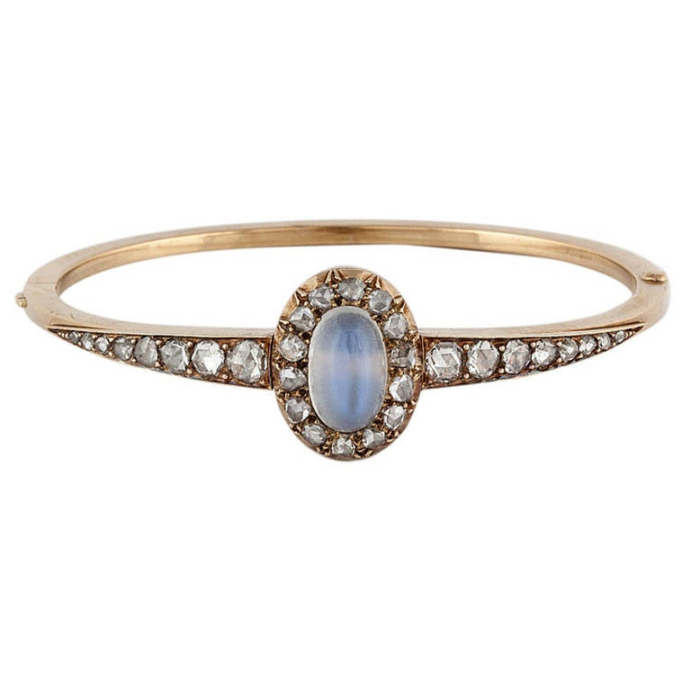 Victorian Moonstone Diamond Gold Bracelet