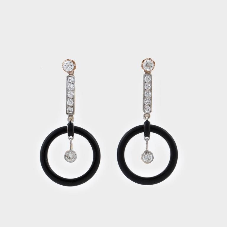 art deco 18k onyx and diamond drop earrings for sale at 1stdibs. Black Bedroom Furniture Sets. Home Design Ideas