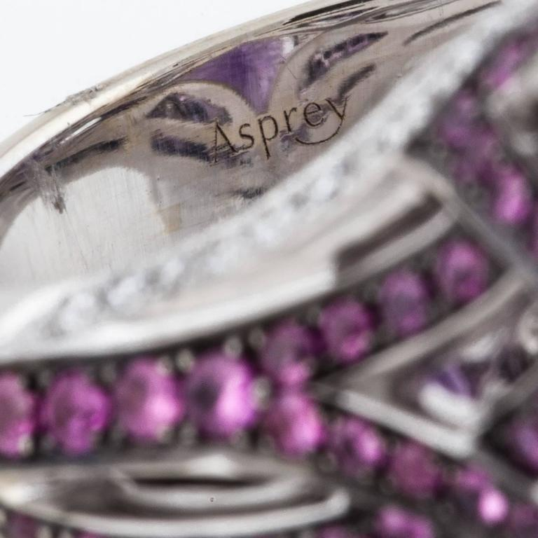 Women's or Men's Asprey Amethyst Diamond Gold Ring For Sale