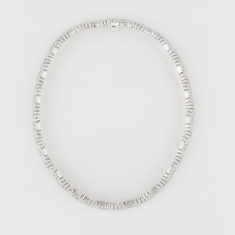 White gold collar style necklace marked