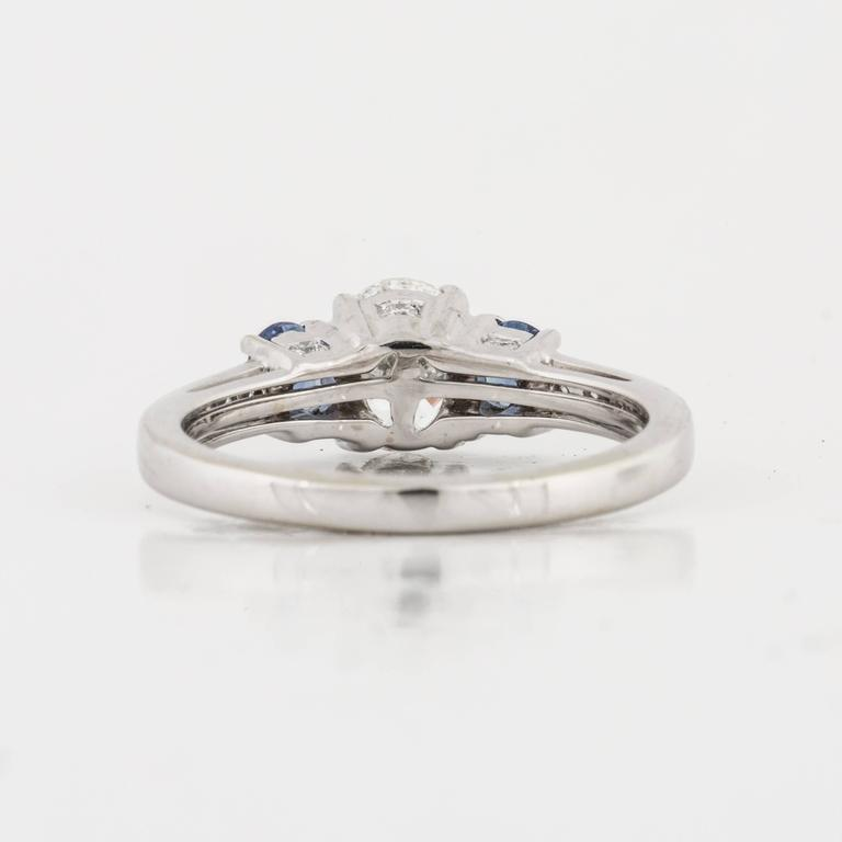Women's Three-Stone Diamond and Sapphire Ring For Sale