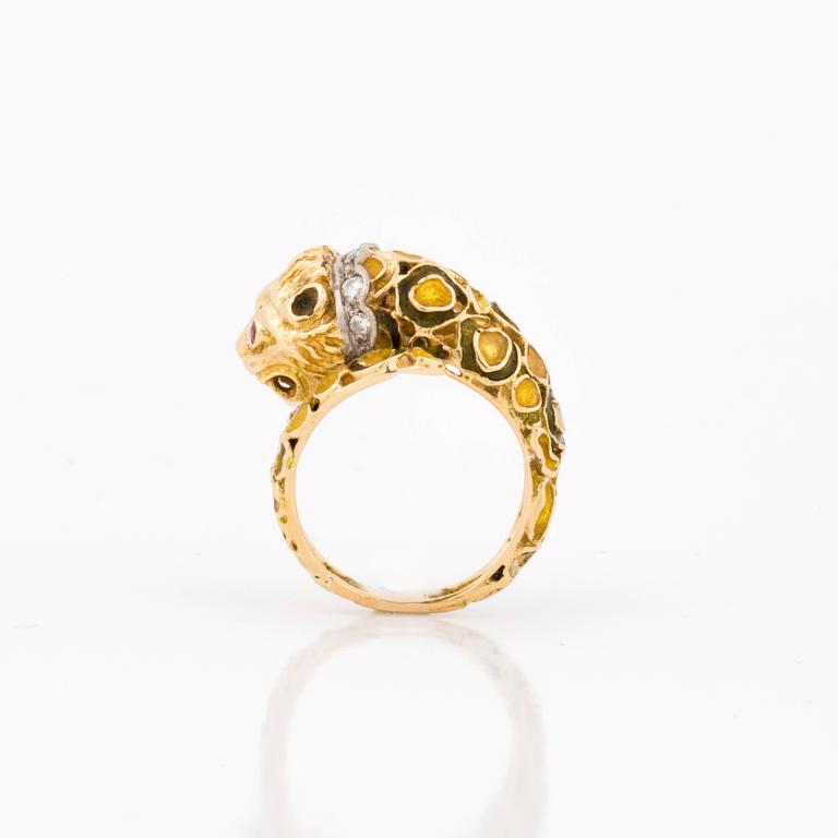 Lalaounis lion head ring in 18K yellow gold with enamel, rubies and diamonds, marked