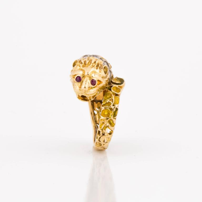 Round Cut Lalaounis 18K Yellow Gold Enameled Lion Ring For Sale