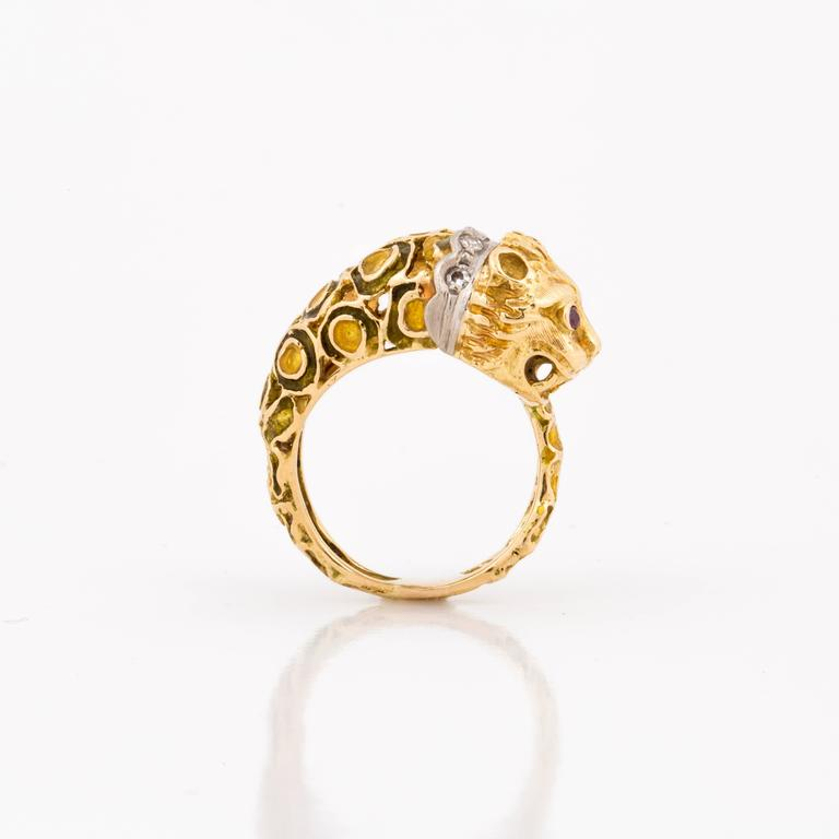 Women's Lalaounis 18K Yellow Gold Enameled Lion Ring For Sale