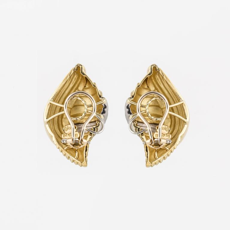 Henry Dunay Two-Tone Shell Clip Earrings 2