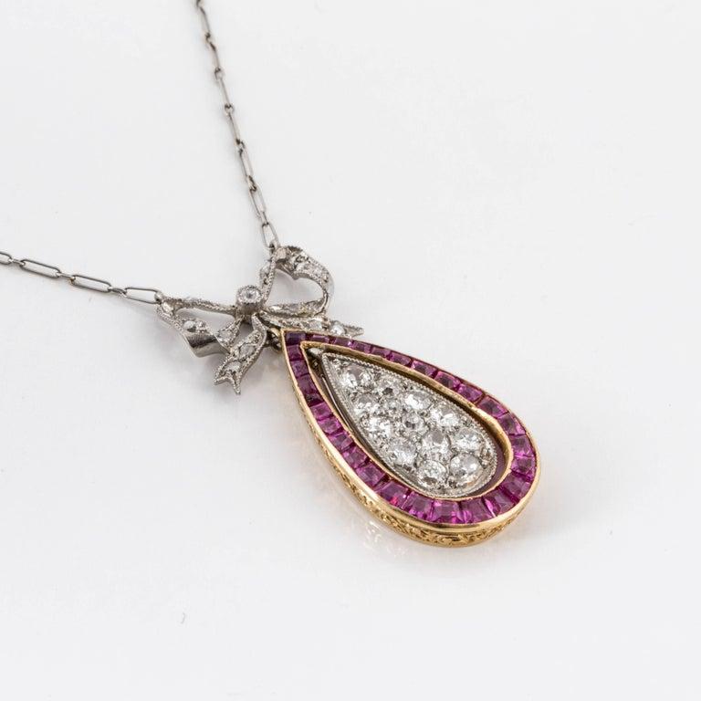 Platinum 18 Karat Belle Epoque Necklace In Excellent Condition For Sale In Houston, TX