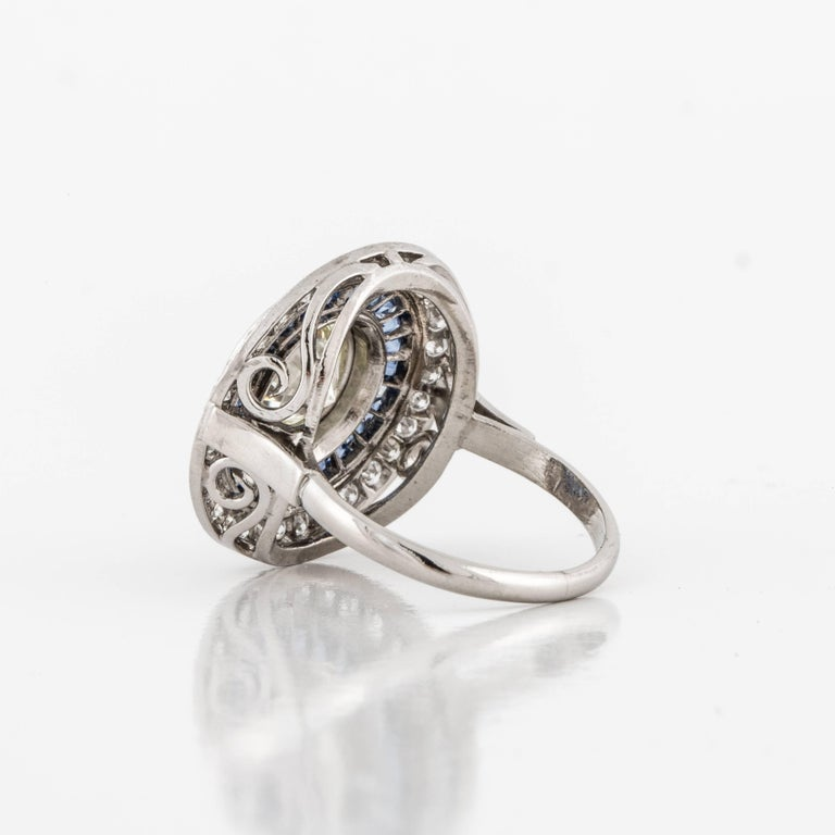 Diamond and Sapphire Target Ring In Excellent Condition For Sale In Houston, TX