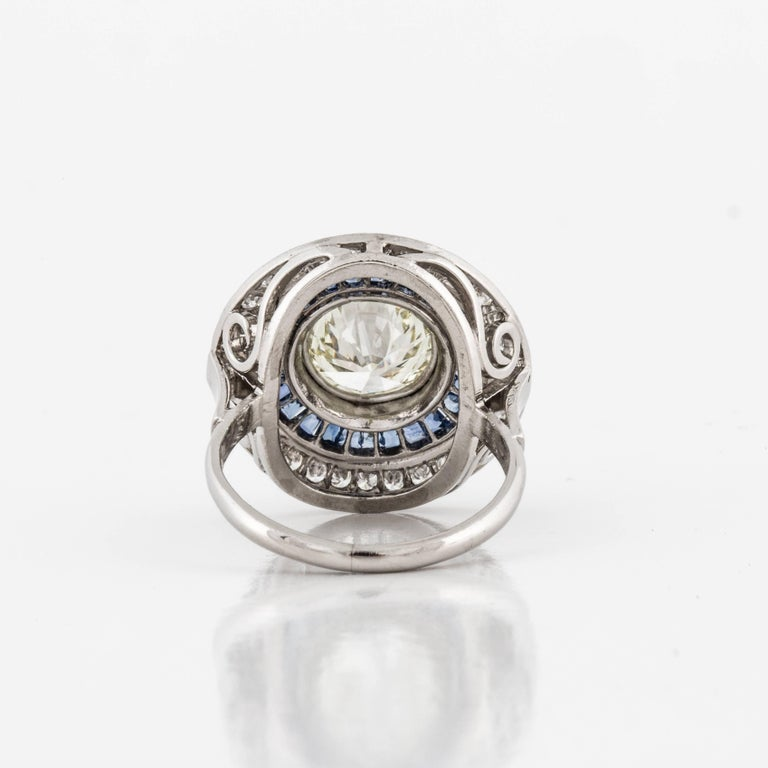 Women's Diamond and Sapphire Target Ring For Sale