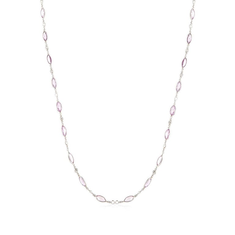 Marquise Cut Platinum Pink Sapphire Diamond Necklace For Sale